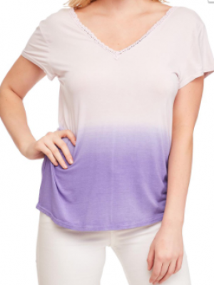 A Beauty By Bnb - Ombre lace v neck short sleeve top