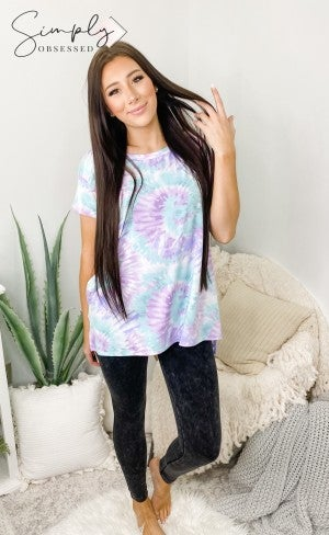Honeyme - Short sleeve round neck tie dye swirl top(plus)