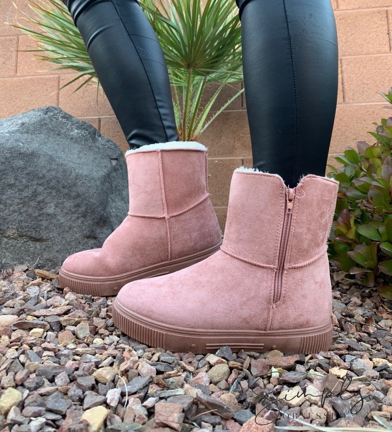 Bamboo- Side zipper winter ankle boots