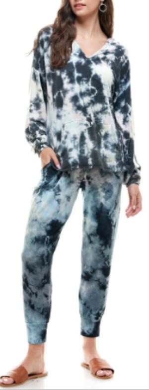 T Party - Tie dye hoodie detail long sleeve top