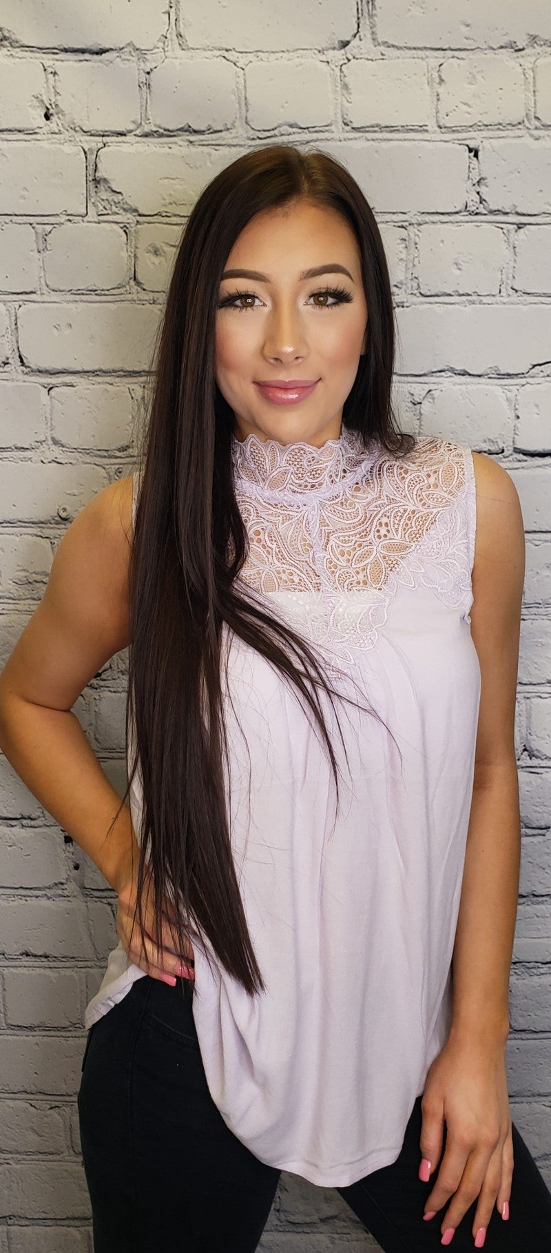 White Birch - A solid knot top with a mock neck featuring a lace inset and a keyhole back.