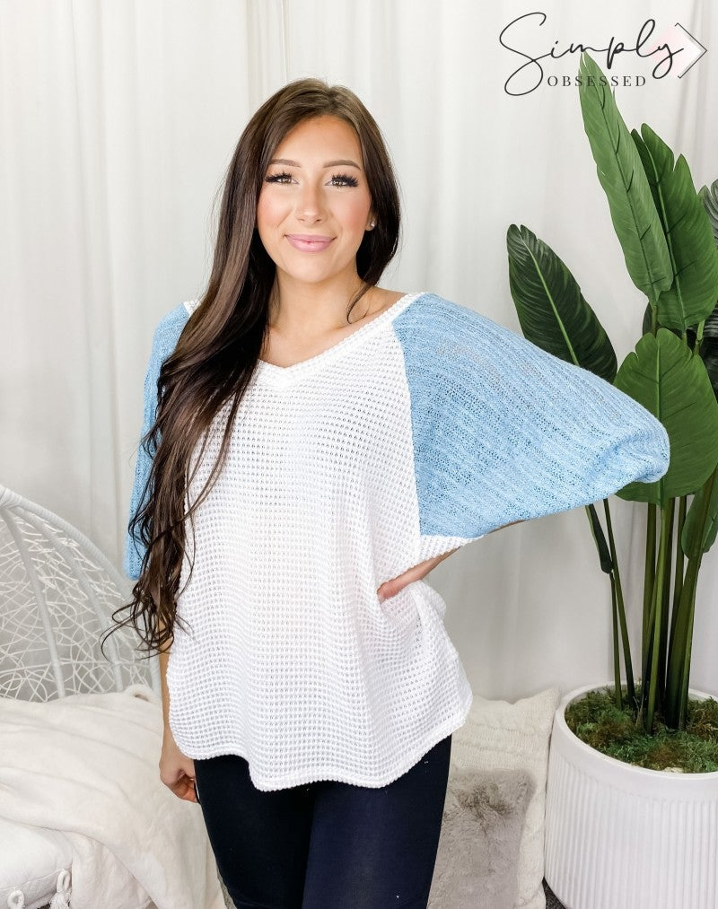 BLUE BUTTERCUP-Color Block Knit V Neck Long Sleeve Sweater