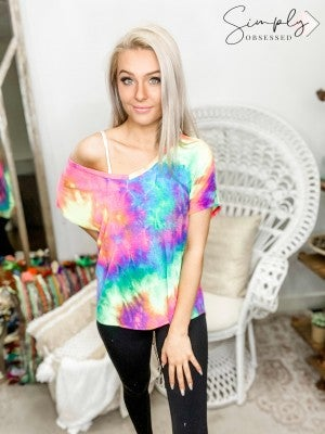 Cy Fashion - Tie dye v neck short sleeve top