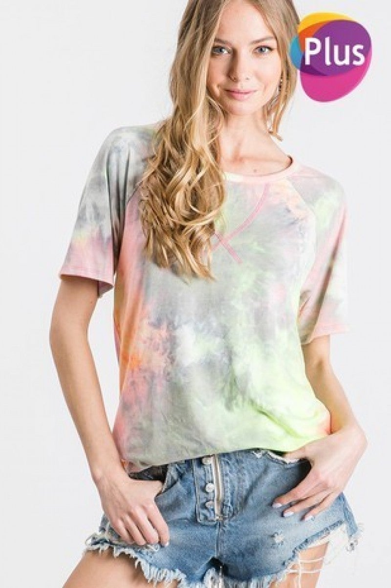 GEEGEE-Tie dye v-stitch round neck top