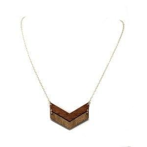 Double Cheveron Wooden Necklace