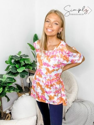 Honeyme - Tie Dye Cold Shoulder Round Neck Top