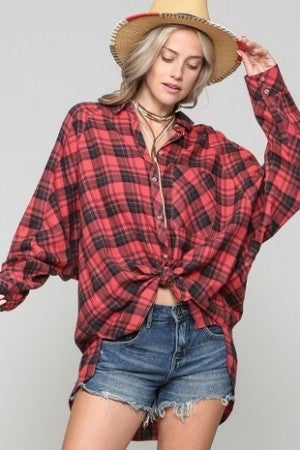 Kye Mi - Faded Plaid Button Down Flannel