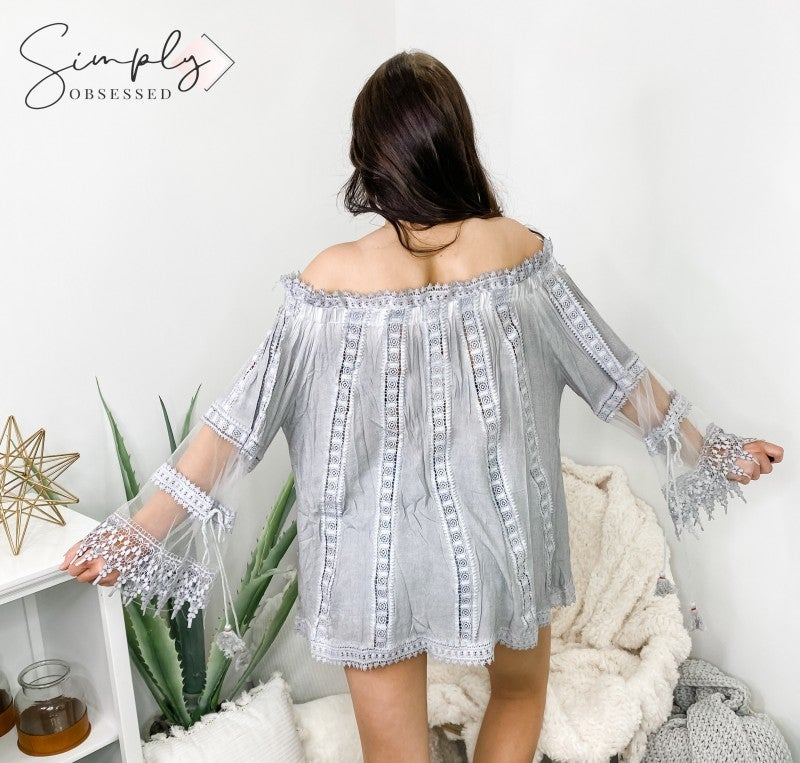 On or off shoulder all over crochet lace and sheer mesh with crochet lace detailed sleeve