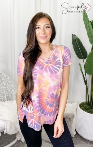 Honeyme - Short sleeve v neck tie dye top(plus)