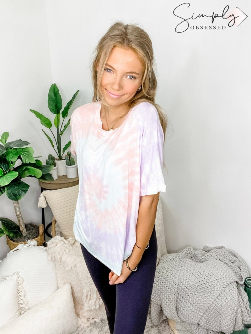 Trend Notes - Cotton Candy Swirl Tie Dye Crew Neck Shirt