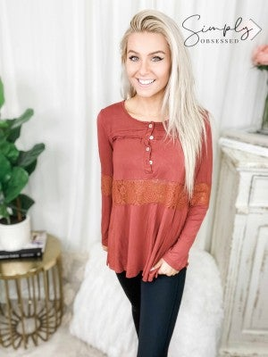 Pol - Long sleeve lace detail top