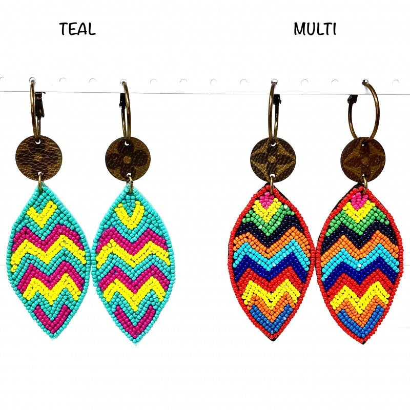 LV Up-Cycled Almond Shaped Tribal Earrings