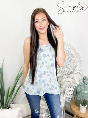 Honeyme - Star print round neck sleeveless knit top(plus)
