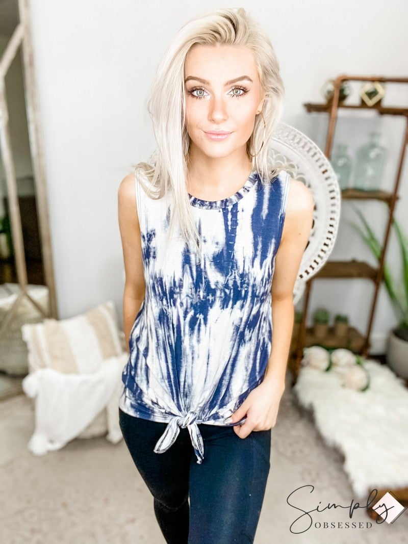 WANNA B-Tie Dyed Sleeveless Top With Front Tie