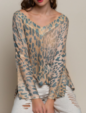Pol - Low v neck long sleeve animal print top
