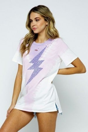 MINE B-Tie Dye Lightning Distressed Cut Graphic Tee