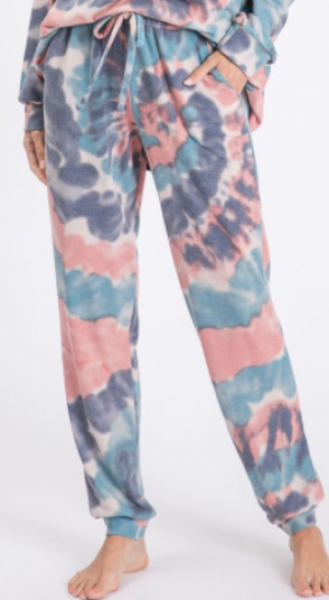 Bibi - Tie dye print french terry casual pants