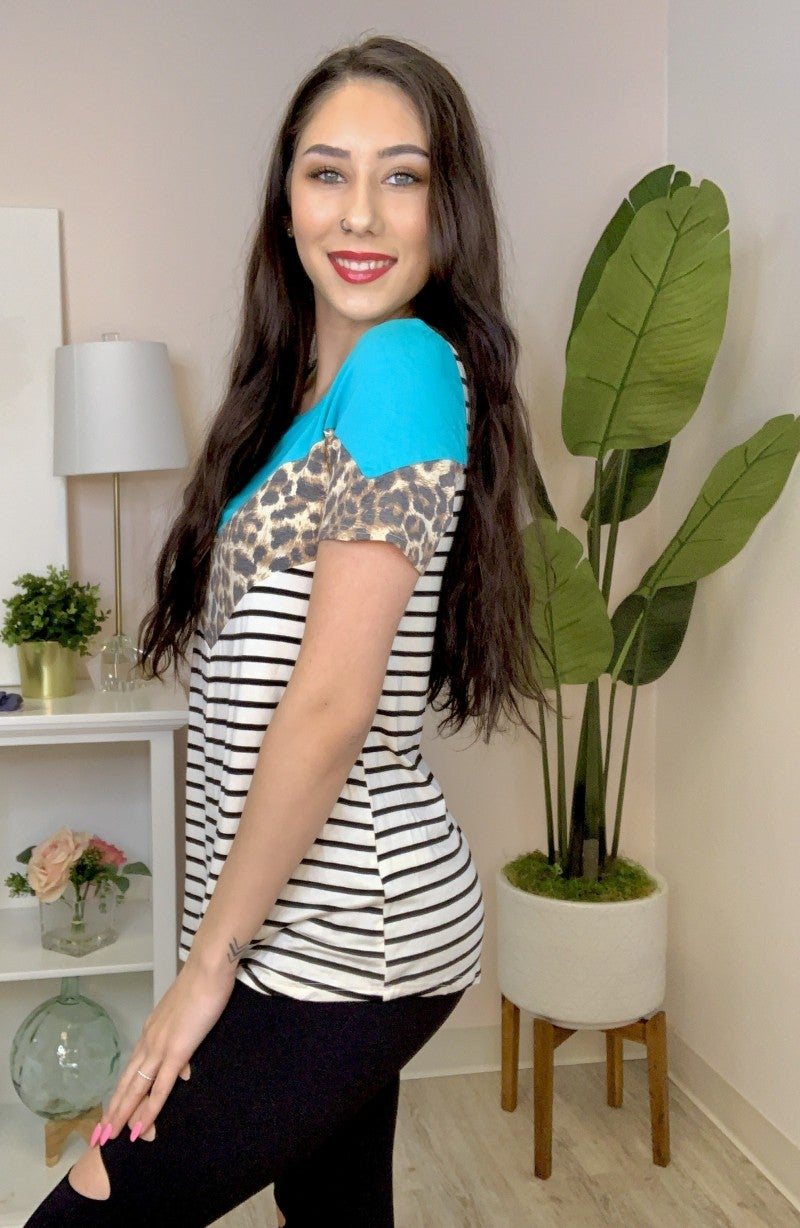 lovely melody- Leopard chevron color block stripe top