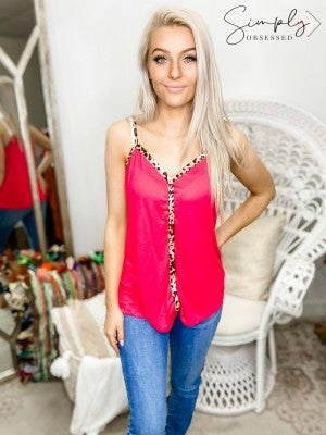 Luna - Solid and Animal Print Detail Spaghetti Strap Button Down V neck Top