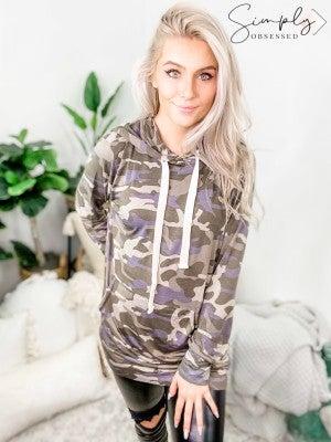 Camo print hoodie top with kangaroo pocket detail