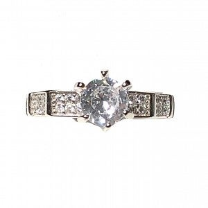 Thin Band CZ with raised center stone