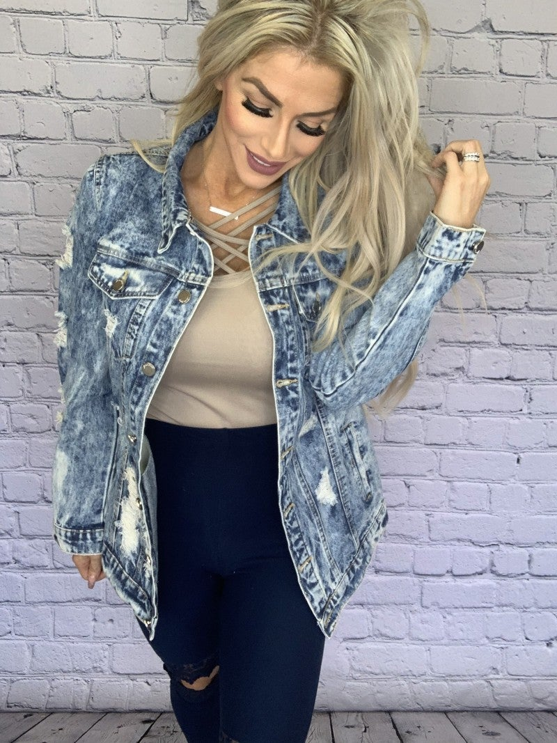 Fantastic Fawn- Long sleeve distressed denim jacket