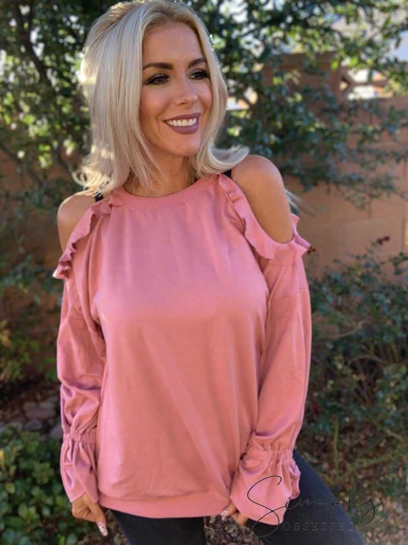 Easel- Long sleeve cold shoulder terry knit top with ruffle sleeves
