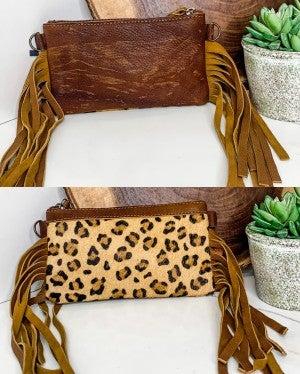 AMERICAN DARLING-Small cheetah crossbody handbag with leather and fringe