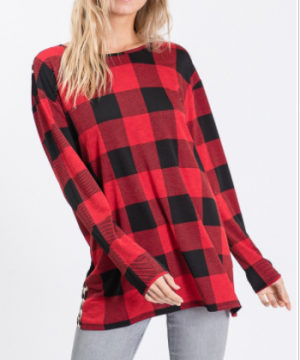 Heimish - Long sleeve animal print and plaid print top with open back detail