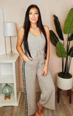 Skies Are Blue - Leopard contrast spaghetti strap jumpsuit