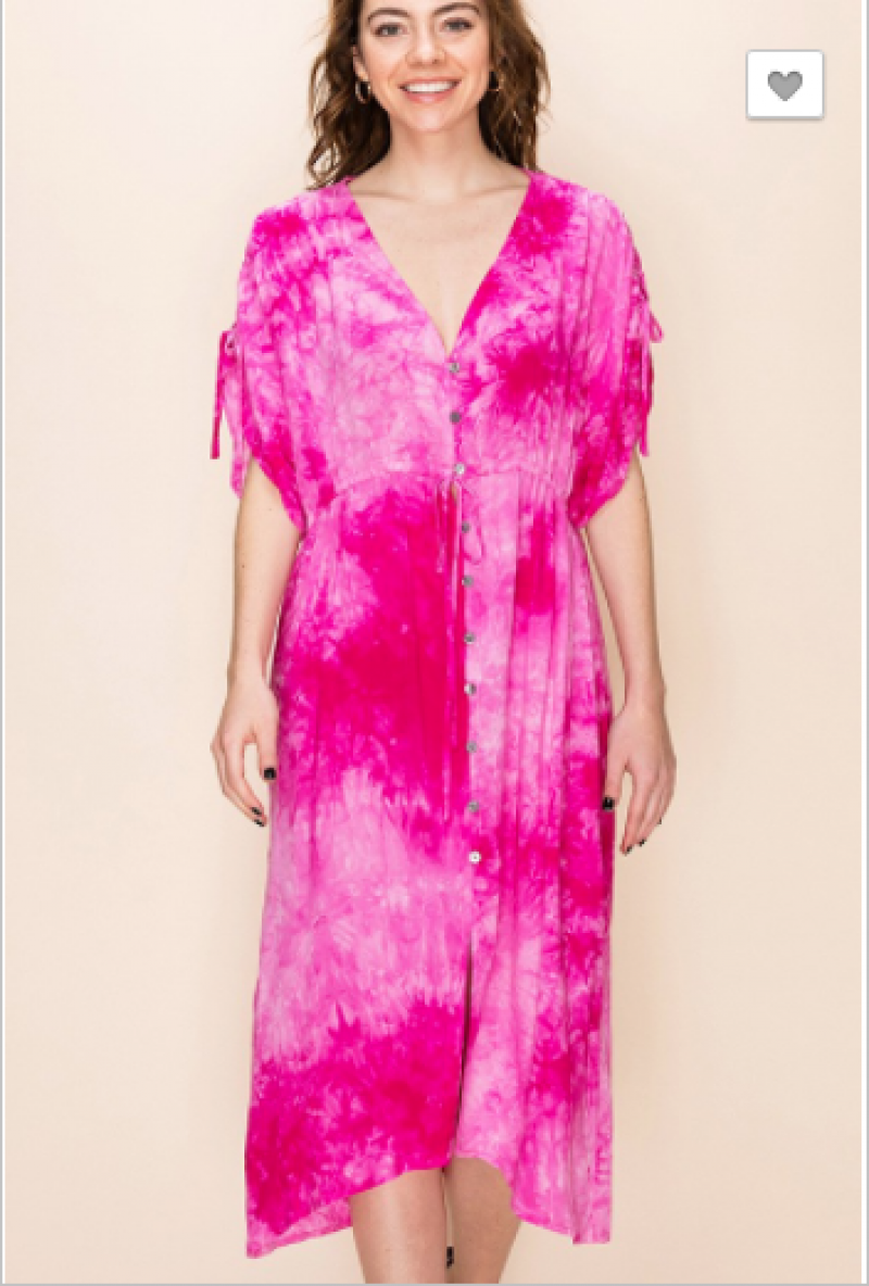 Favlux - Tie dye dolman sleeve button up dress