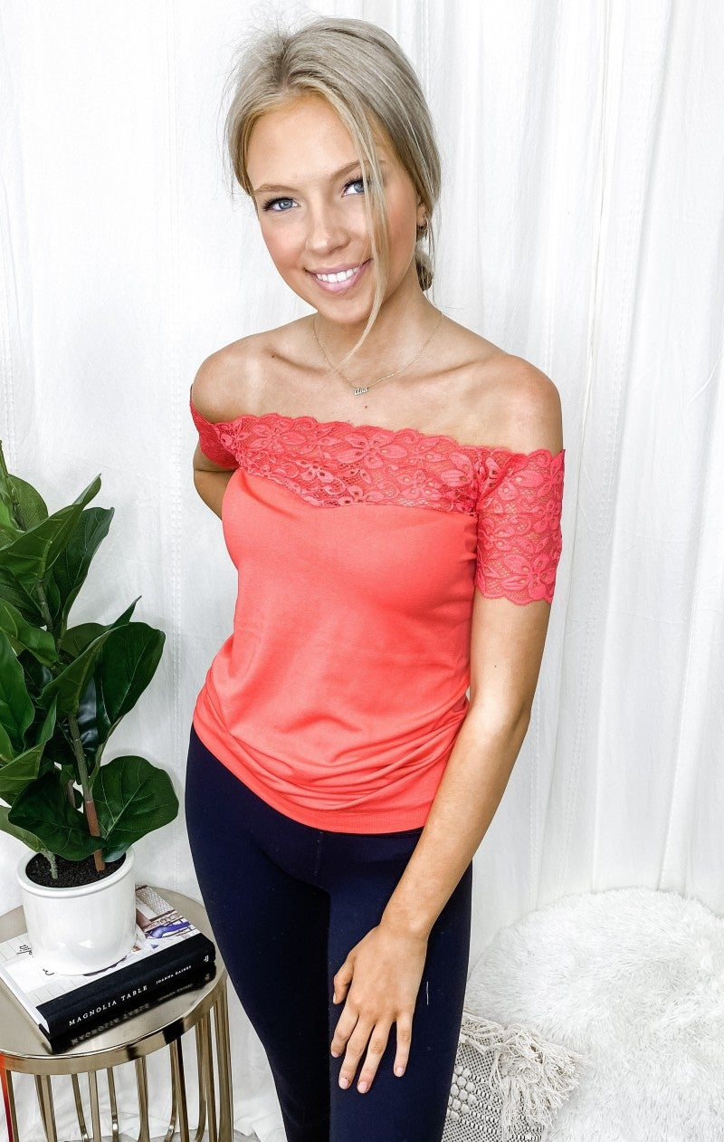 HiFashion - Solid Seamless knit and lace contrast off shoulder top