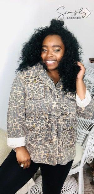 POL - Leopard print denim jacket