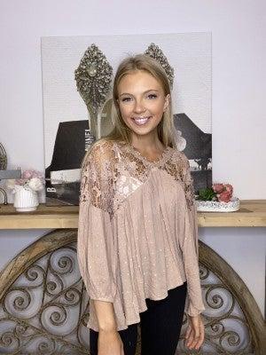 Oddi - 3/4 Lenth puff sleeve v neck crochet lace blouse