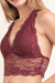 Red bean halter strappy back lace bralette