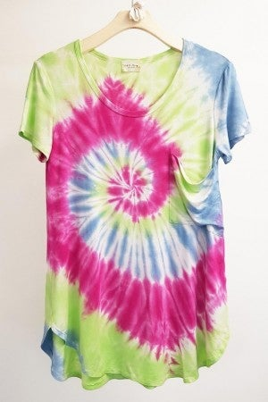 143 STORY-Tie Dye Oversize Casual Tee With Slouchy Pocket