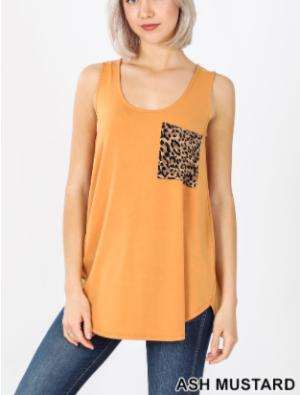 Sleeveless leopard print pocket top