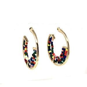 Multi color bead half hoop earring