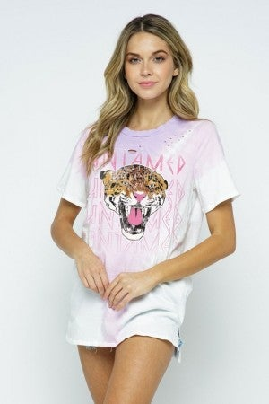 MINE B-Tie Dye Leopard Untamed Distressed Cut Top