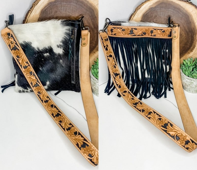 American Darling - Small leather work tassel detail cross body bag