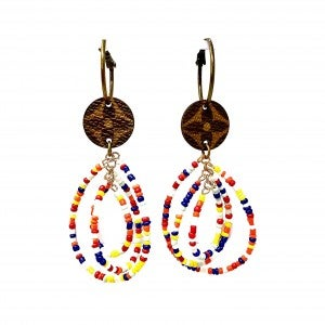 LV Up-Cycled Multi Double Band Teardrop Hoops w/ Beads