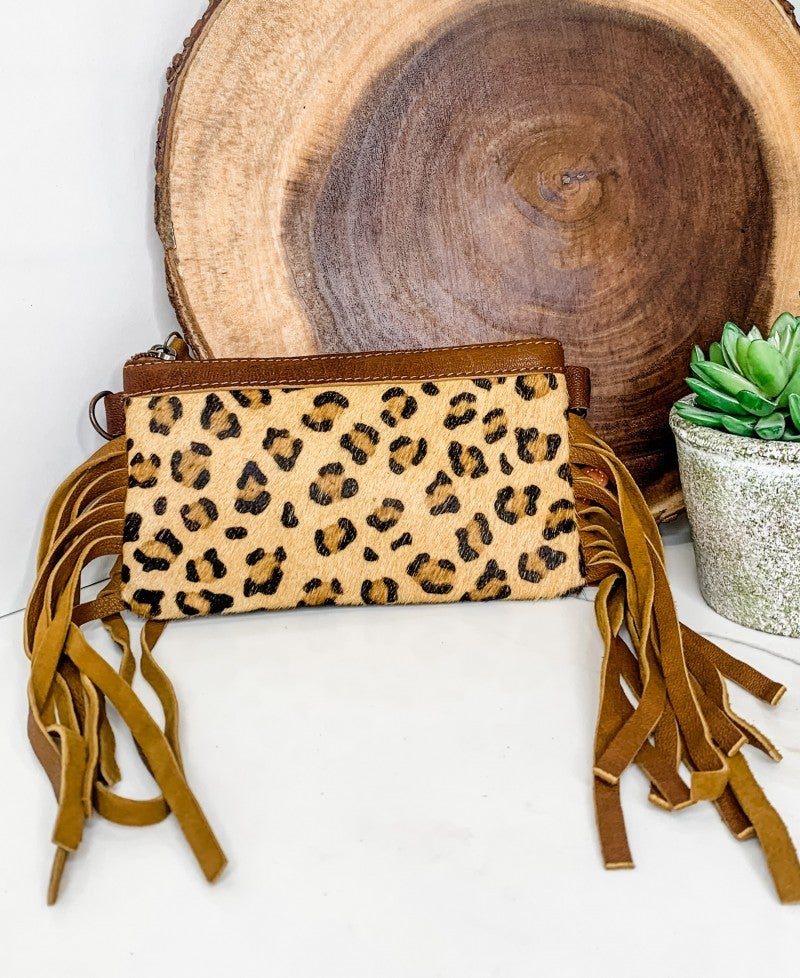 AMERICAN DARLING-Small cheetah crossbody handbag with leather and fringe