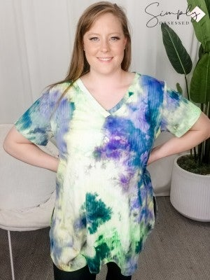 Crepas - Tie dye v neck shirt shape bottom short sleeve ribbed top(plus)