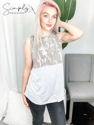 Sew In Love - Sleeveless hoodie detail camo contrast top(plus)