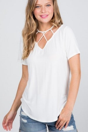 AVENUE HILL-Front Cage Short Sleeve Fashion Top