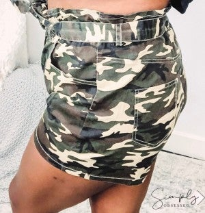 Bibi - Military print woven shorts with elasticized waistband