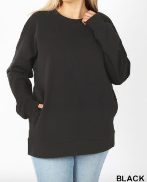 Long sleeve round neck sweatshirt with pocket detail