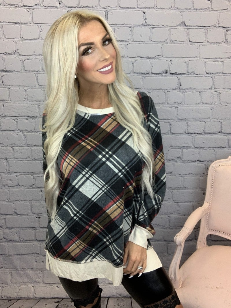 Honeyme-Plaid patterned long sleeve sweater top