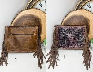 AMERICAN DARLING- Medium handbag with leatherwork and fringe
