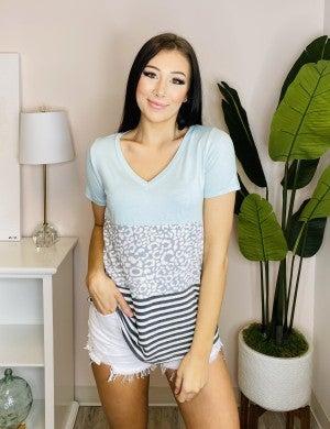 Sew In Love - Short sleeve v neck color block top(plus)